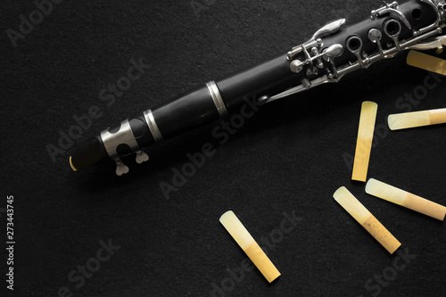 Fotografie, Obraz details clarinet and reeds isolated on a white background