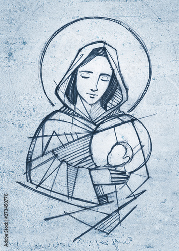 Fototapeta Virgin Mary and baby Jesus hand drawn pencil illustration