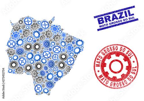 Fotografija  Industrial vector Mato Grosso do Sul State map mosaic and seals