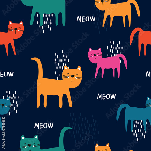 Happy cats, hand drawn backdrop. Colorful seamless pattern with animals. Decorative cute wallpaper, good for printing. Overlapping background vector. Design illustration