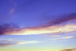 Early morning sky scene. Dramatic and moody blue cloudy sunset sky