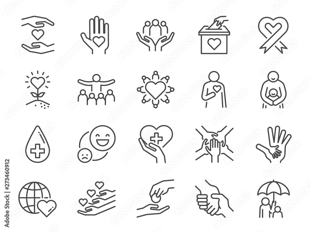 Fototapeta Charity line icon set. Included icons as kind, care, help, share, good, support and more.