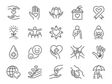 Charity Line Icon Set. Include...
