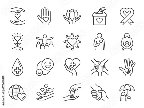 Fototapeta Charity line icon set. Included icons as kind, care, help, share, good, support and more. obraz