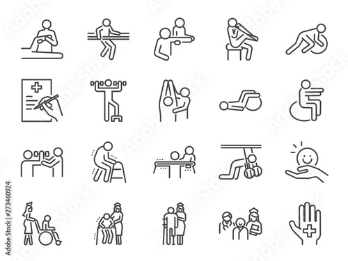 Canvas Print Physical therapy line icon set