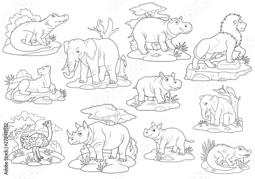 - Africa Wild Animals, Coloring Book, Set Of Images - Buy This Stock  Illustration And Explore Similar Illustrations At Adobe Stock Adobe Stock