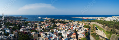 Poster Mandraki port of Rhodes city harbor aerial panoramic view in Rhodes island in Greece