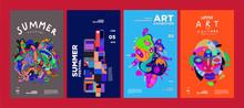 Summer Festival Art And Culture Colorful Illustration Poster. Illustration For Summer, Event, Website, Landing Page, Promotion, Flyer, Digital And Print.