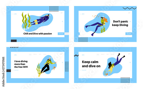 Obraz na płótnie Snorkeling Characters Underwater Fun Activities Website Landing Page Set, Hobby, Swimming, Photographing, Scuba Diving with Spear Fishing Equipment Web Page