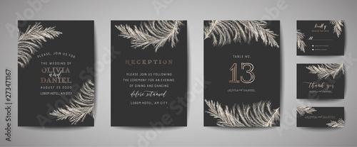 Fotografia, Obraz  Pampas Grass Vintage Wedding Save the Date, Invitation Floral Cards Collection with Gold Foil Frame