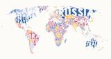 Skład tekstu mapy świata, nazwy krajów w obszarach kolorów, typograficzna ilustracja wektorowa
