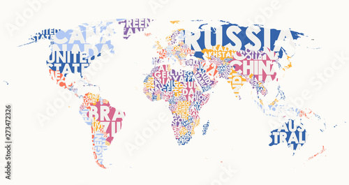 World map text composition, name of countries in color territories, Typographic vector illustration