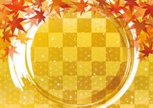 紅葉 金色 秋 円 和柄 背景