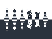 Chess Pieces Set Of Icons In B...