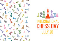 International Chess Day Vector Illustration On Light Background. King Queen Bishop Knight Rook Pawn