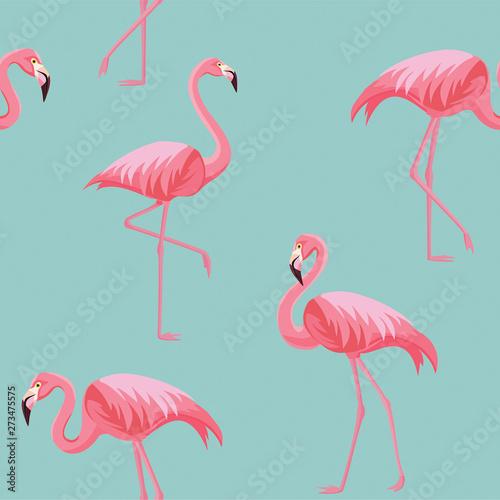 Spoed Foto op Canvas Flamingo Flamingo pattern. Vector seamless texture.