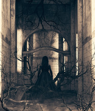 Ghost Girl In Haunted House,3d Illustration