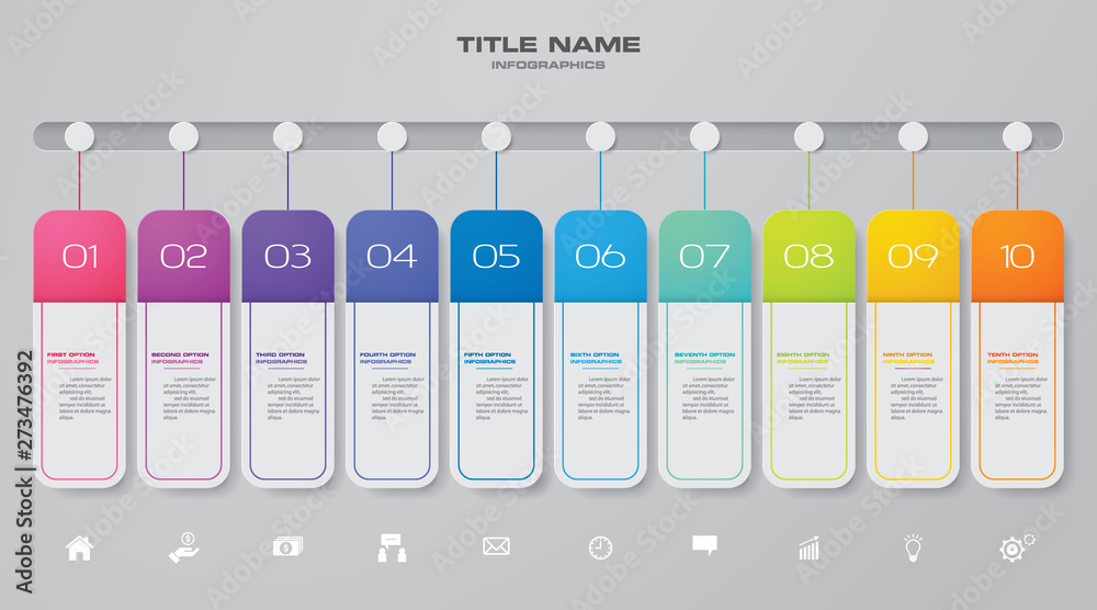 Fototapety, obrazy: 10 steps timeline infographic element. 10 steps infographic, vector banner can be used for workflow layout, diagram,presentation, education or any number option. EPS10.