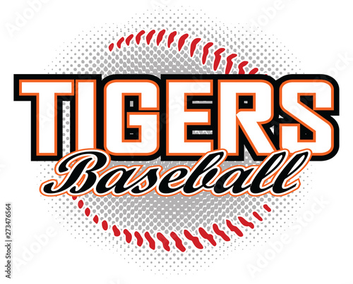 Wallpaper Mural Tigers Baseball Design is a tigers mascot design template that includes team text and a stylized baseball graphic in the background