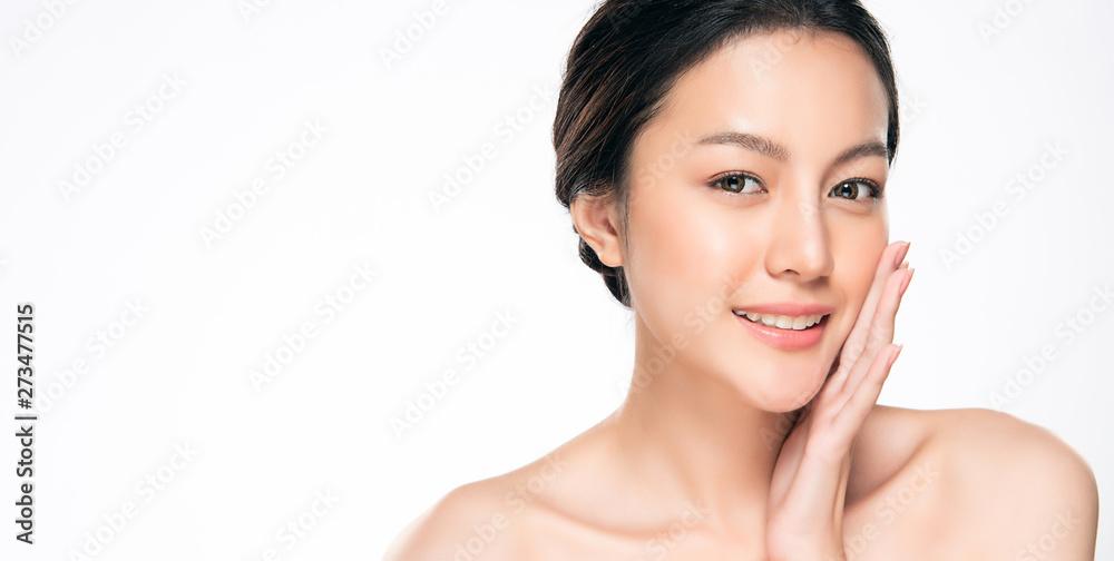 Fototapeta Beautiful Young Asian Woman with Clean Fresh Skin,