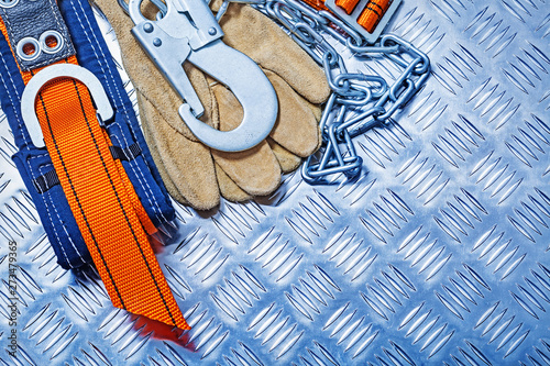 Poster Pays d Asie Construction safety harness and gloves on corrugated metall sheet