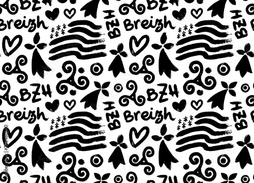 Hand drawn grunge style doodle vector seamless pattern with breton hand-drawn sy Canvas Print