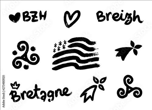 Set of vector breton hand-drawn symbols in grunge style: Gwen-ha-du black and wh Canvas Print