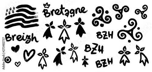Fotografiet Vector set of breton hand-drawn symbols in grunge style: Gwen-ha-du black and wh