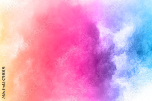 abstract powder splatted background. Colorful powder explosion on white background. - 273483391