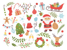 Set Of Christmas And New Year With Santa Claus, Deer, Christmas Tree, Wreath, Gifts, Tree Toys And Other Decoration Elements. Design For Prints, Cards, Posters. Vector Illustration.