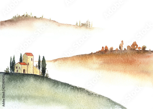 Foto auf AluDibond Weiß Tuscan villa and distant hills landscape watercolor painting.