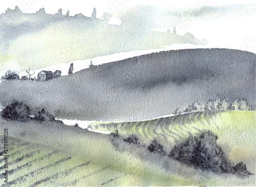 Foto auf AluDibond Dunkelgrau Tuscan farm and distant mountains landscape watercolor painting.