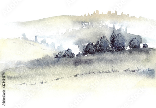 Fotoposter Wit Tuscan farmland and fogg hills landscape watercolor painting.