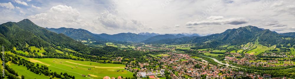 Fototapety, obrazy: Aerial Brauneck Lenggriess. Bavarian Alps. Ski Resort. Travel Destination June 2019
