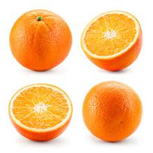 Orange Fruit Isolated On White. Orang Isolate. Orange Set.