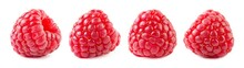 Raspberries Isolate Set. Raspberry Isolated On White Background. Red Berry Closeup.