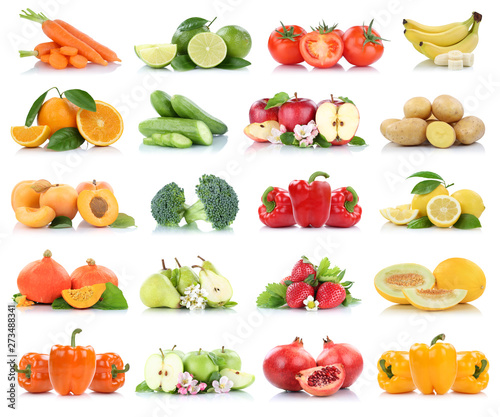 Fruits vegetables collection isolated apple apples oranges bell pepper tomatoes banana colors fresh fruit