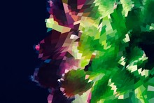 Abstract Background With Geometric Design. Digital Futuristic Element. Technology. Macro Flower Cactus. Floral Wallpaper. Colorful Green Blue Pink Red. Dark Background.