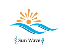 Wave Sun Logo Icon Vector Illustration Design