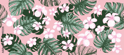 Tropical leaves pattern pink background. Hand drawn illustration.
