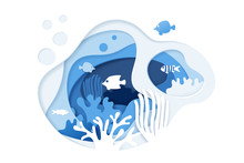 Paper Cut Underwater Ocean Background With Coral Reef, Fishes, Seaweed, Bubbles And Waves. Paper Cut Coral Reef Banner. Ocean Wildlife. Vector Illustration
