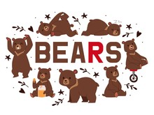 Bears Banner Vector Illustration. Cartoon Brown Grizzly Bear. Teddy In Different Pose And Activities, Sitting, Dancing And Lying, Eating Sweet Honey, Riding Unicycle, Sleeping.