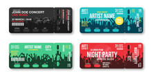 Set Of Concert Tickets Template. Concert, Party, Disco Or Festival Ticket Design Template With People Crowd On Background. Entrance To The Event