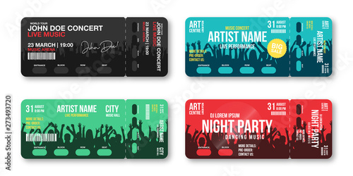 Fototapeta Set of concert tickets template. Concert, party, disco or festival ticket design template with people crowd on background. Entrance to the event obraz