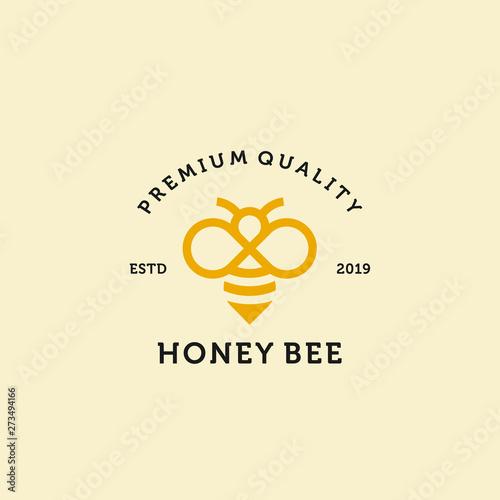 Obraz na plátne vintage honey bee logo template illustration vector icon download