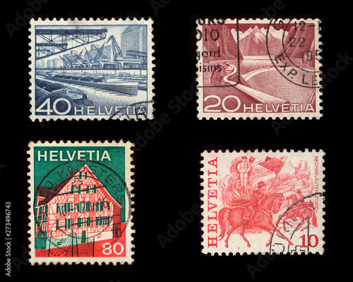 Helvetia Postage Stamps Tablou Canvas