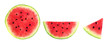 canvas print picture - Slices of summer watermelon, whole round, half and piece isolated on a white background