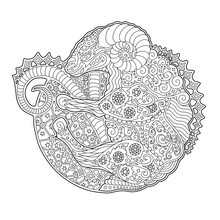 Art For Coloring Book With Zodiac Symbol Aries
