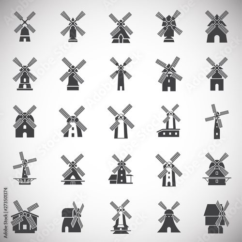 Wind mill icons set on background for graphic and web design Canvas Print