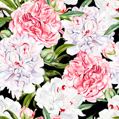 Panel Szklany Peonie Beautiful watercolor seamless pattern with peony flower.